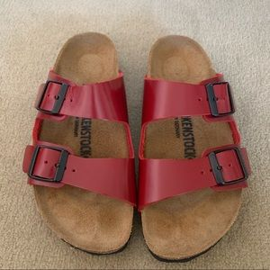 Reposh. Beautiful red leather Birkenstocks.
